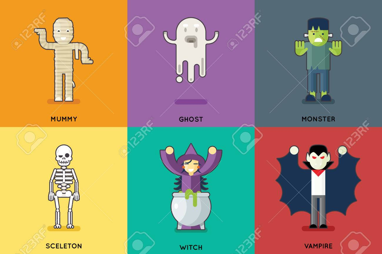 Halloween party roles characters icons set stylish background halloween party roles characters icons set stylish background flat design greeting card vector illustration stock vector kristyandbryce Gallery