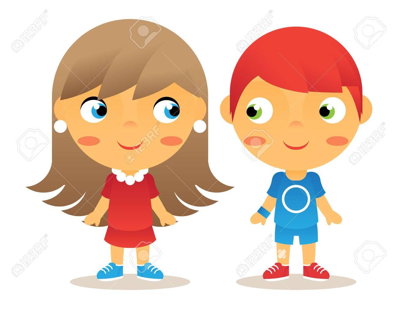 Fille Garçon Personnage De Dessin Animé Pour Enfants Icônes Isolated Vector Illustrator