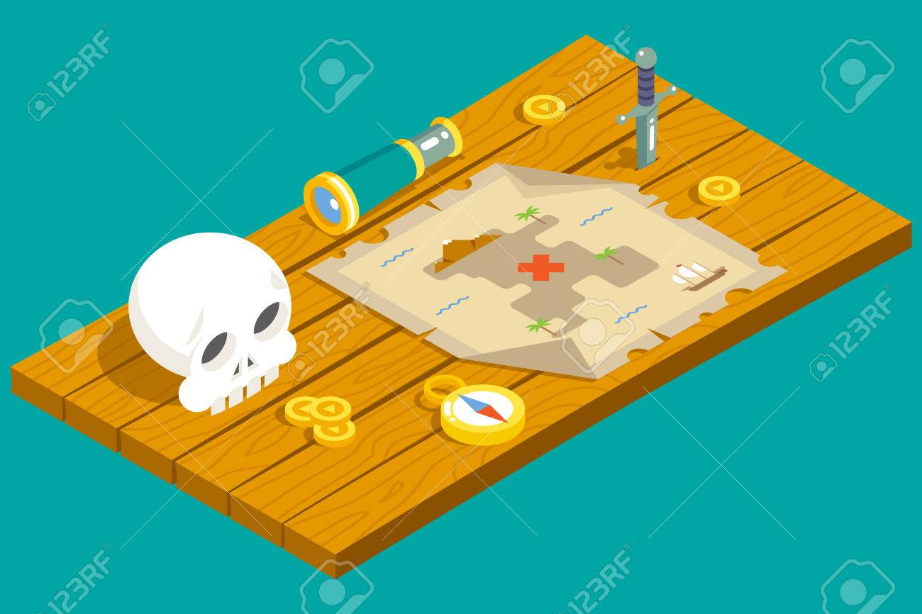 Isometric Pirate Treasure Adventure Game RPG Map Action Knife ...