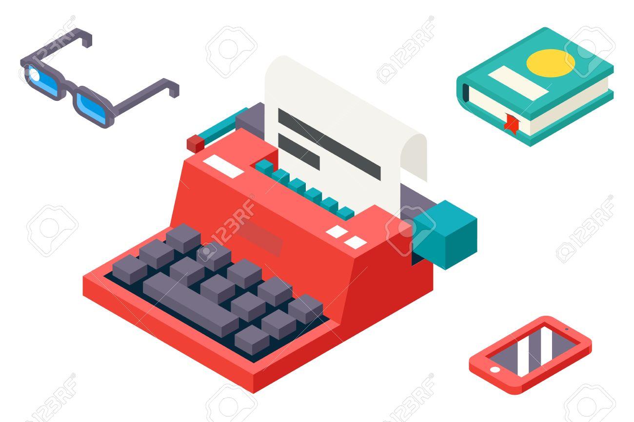 3D Isométrico Retro Creatividad Símbolo Máquina De Escribir Papel ...