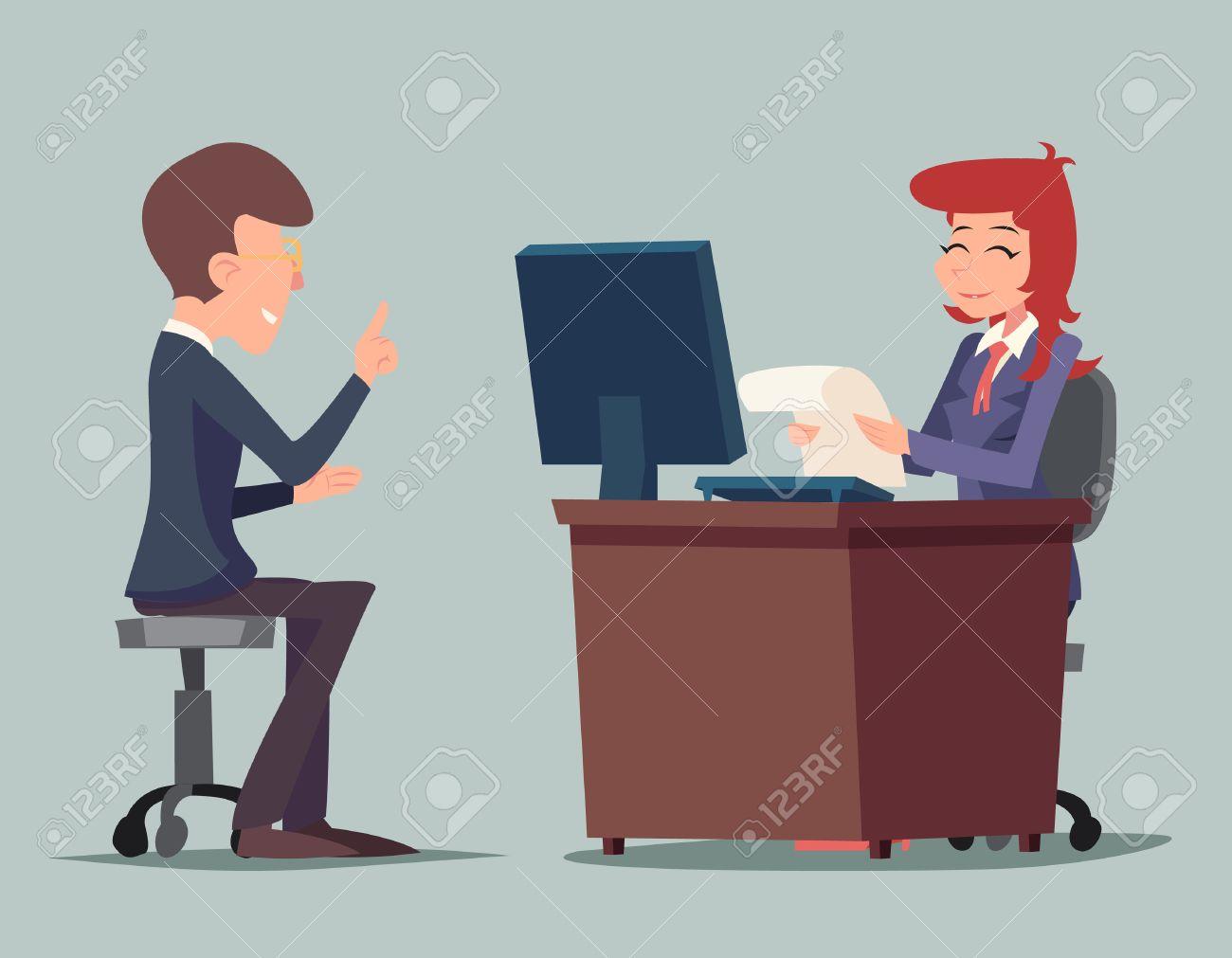 Task Conversation Job Interview Businessman at Desk Working on Computer Cartoon Characters Icon Stylish Background Retro Cartoon Design Vector Illustration - 50631344