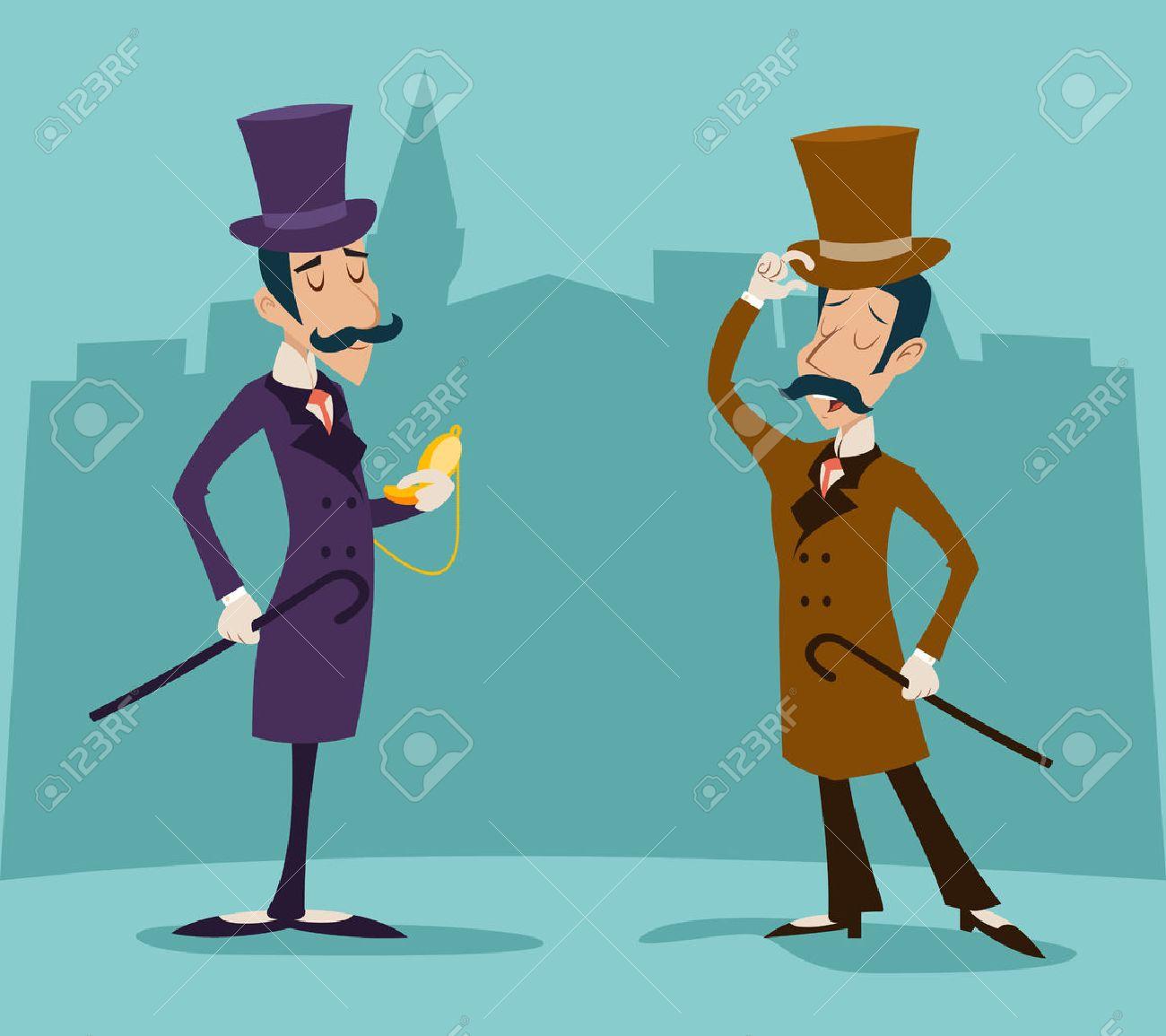 Victorian Gentleman Meeting Businessman Cartoon Character Icon Stylish English City Background Retro Vintage Great Britain Design Vector Illustration - 51246064