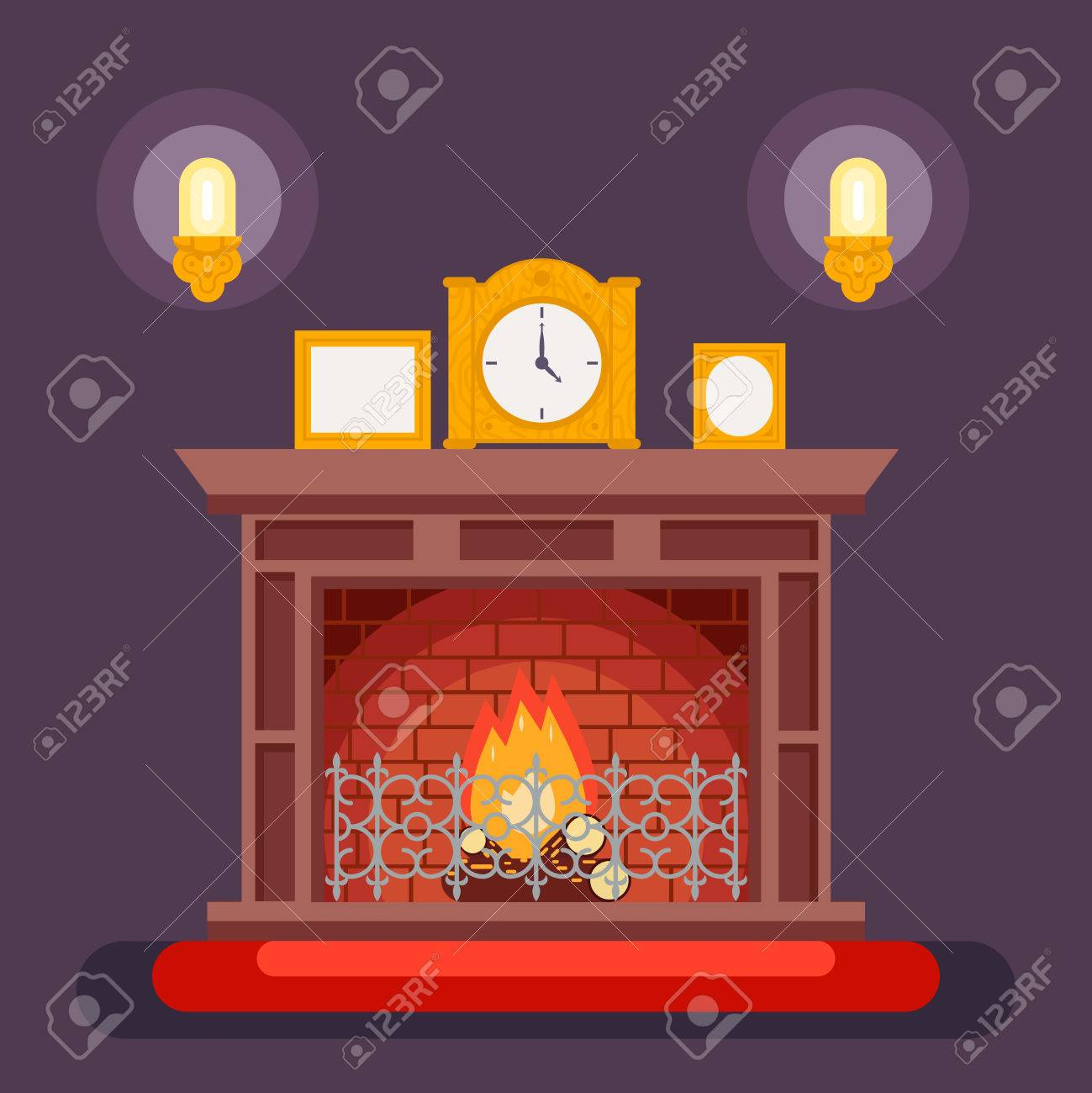 fireplace evening discussing concept icon background flat vector