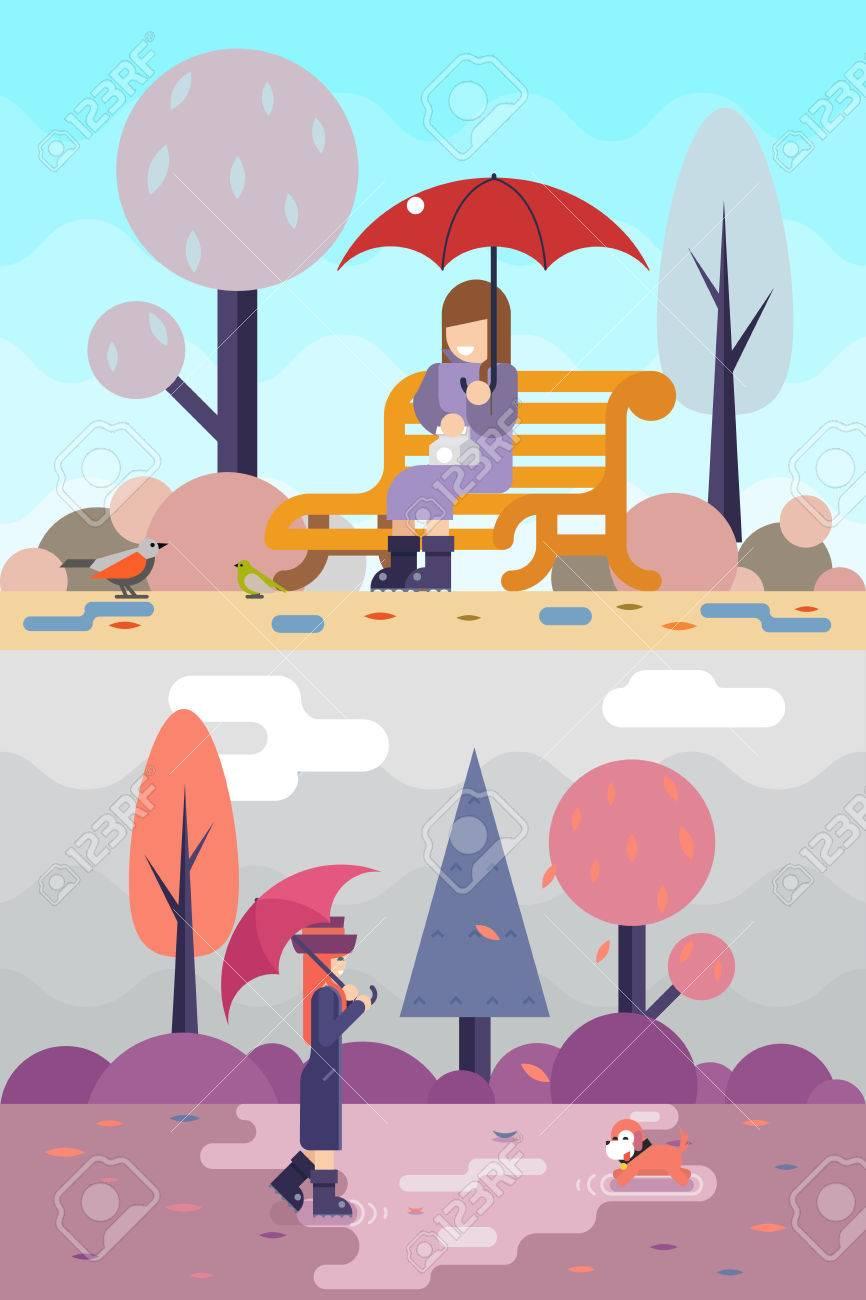 幸せな女の子座るベンチ時計鳥犬水たまり傘秋春自然公園コンセプト