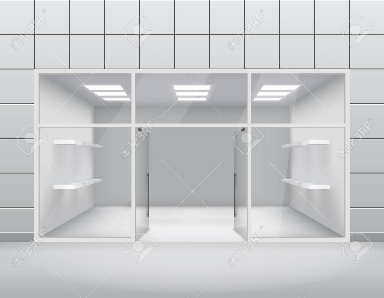 Leere Ladenfront Boutique Fenster öffnen Tür 3D Vorlage Illustration ...