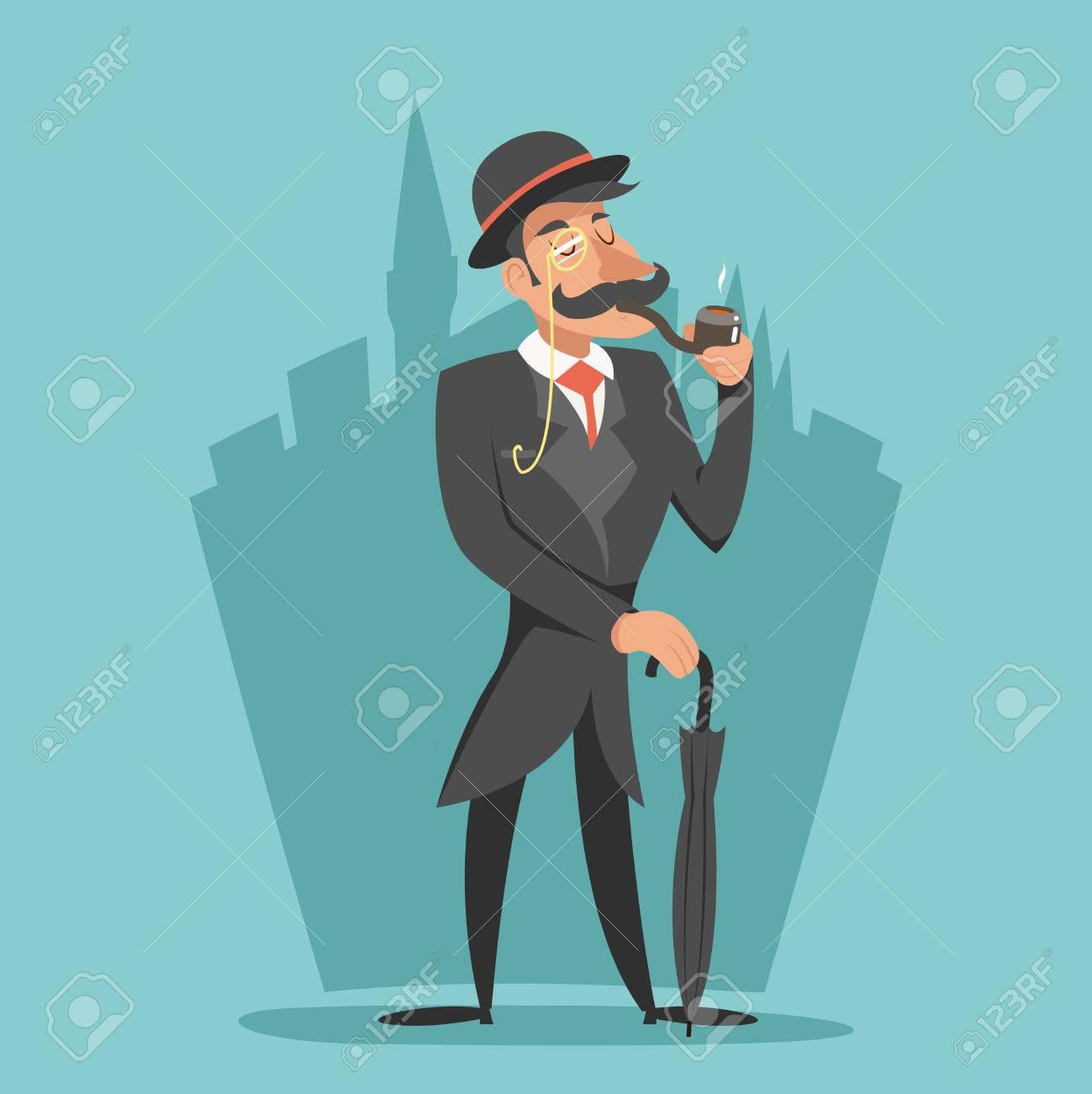 Vettoriale fumare gentleman vittoriana ombrello personaggio dei
