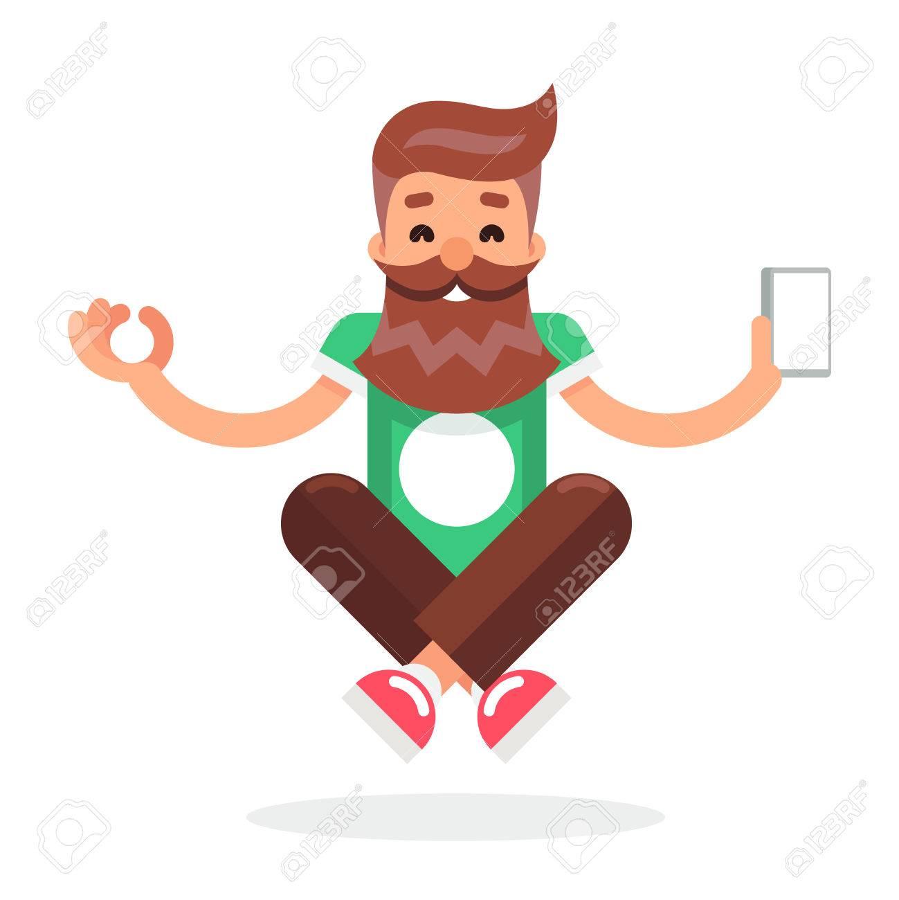 New Smartphone Mobile Technology Enlightenment Hipster Geek Cartoon Symbol Flat Design Template Vector Illustration - 61098190