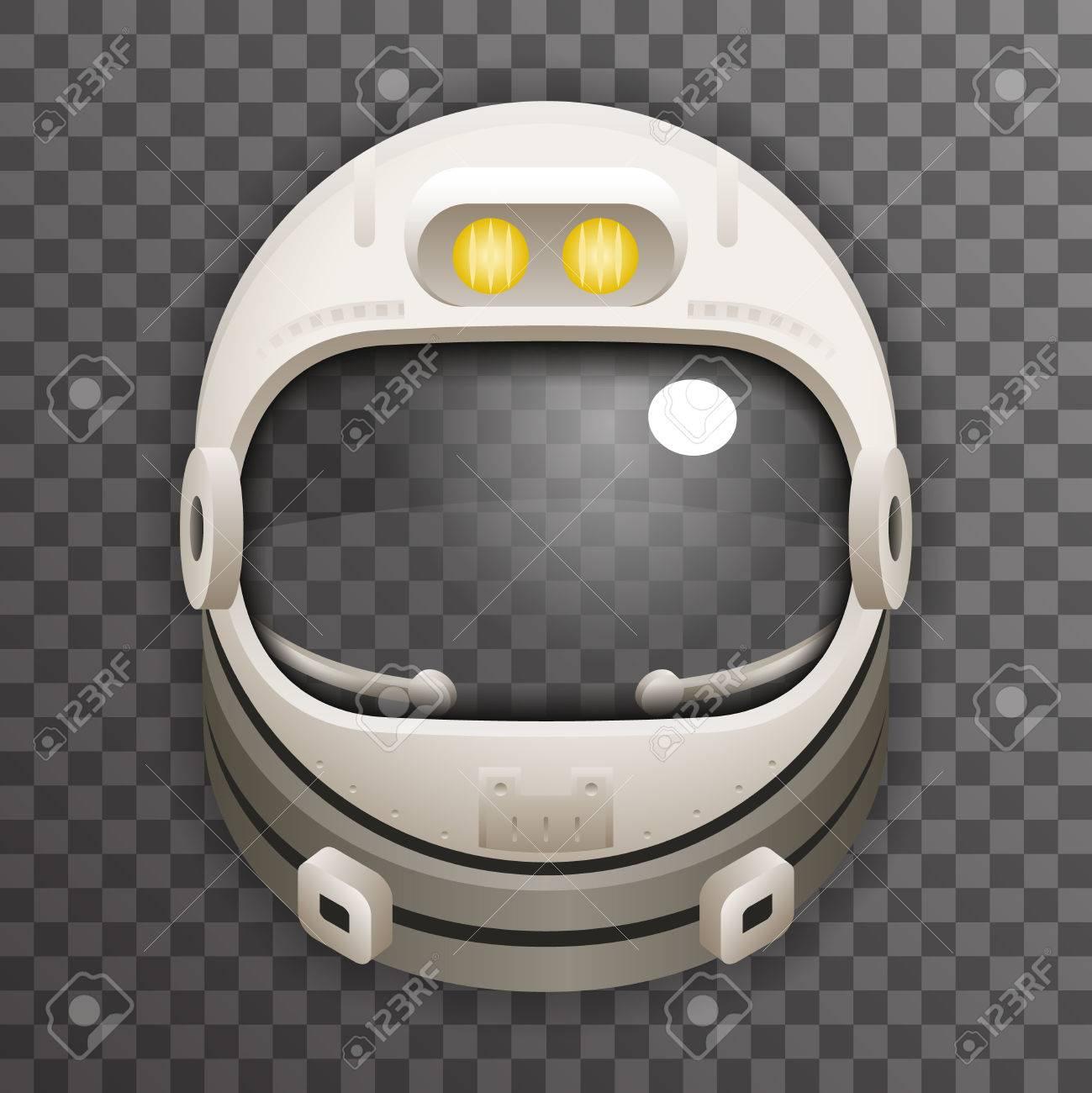 Realistic Helmet Cosmonaut Astronaut Spaceman Tantamareska Poster Transperent Glass Background Icon Template Mock Up Design Vector Illustration - 61098224