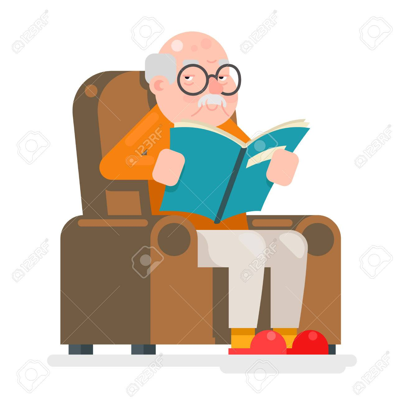 Old Man Characters Read Book Sit Chair Adult Icon Flat Illustration