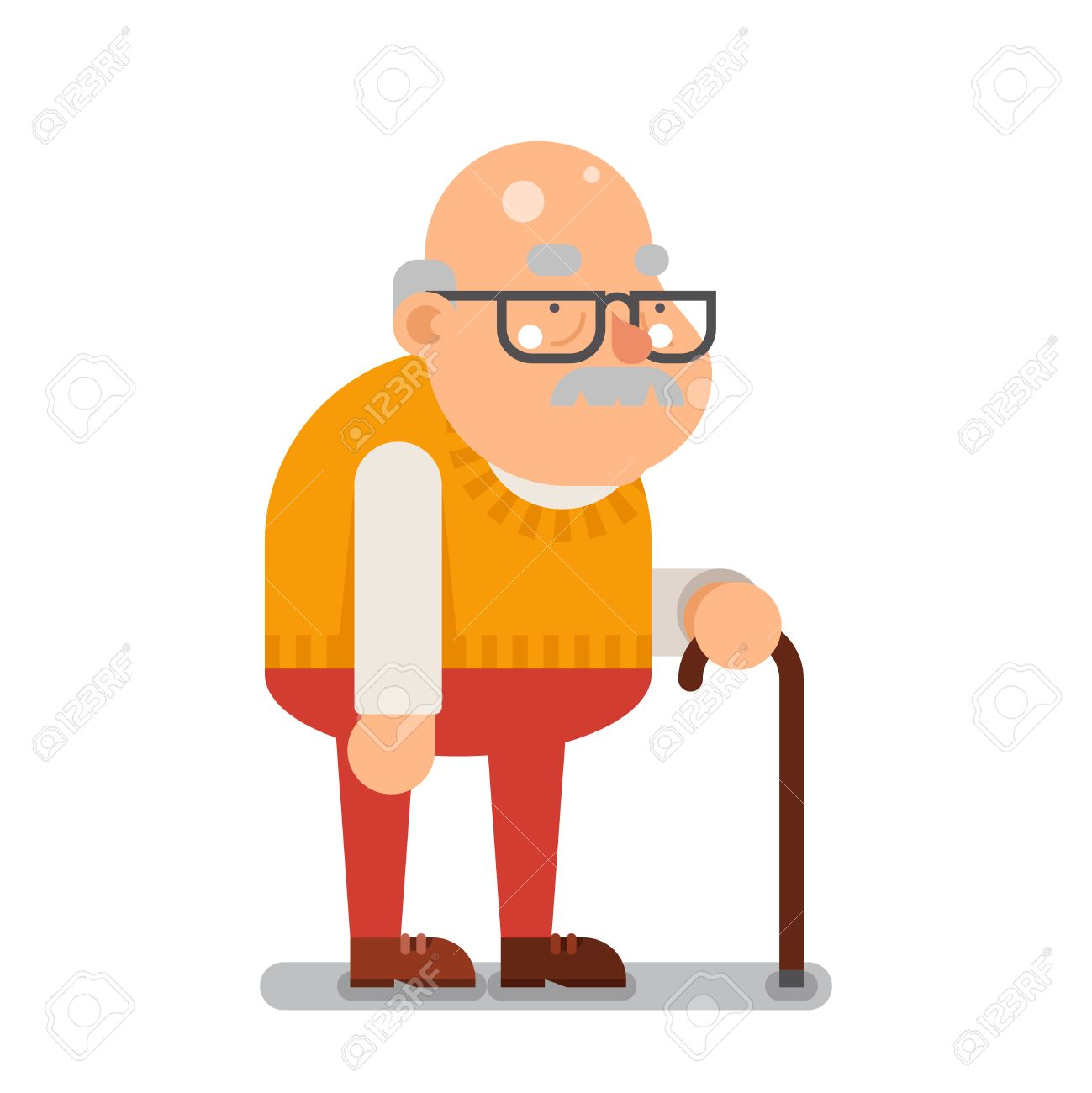 grandfather old man character cartoon flat illustration royalty free