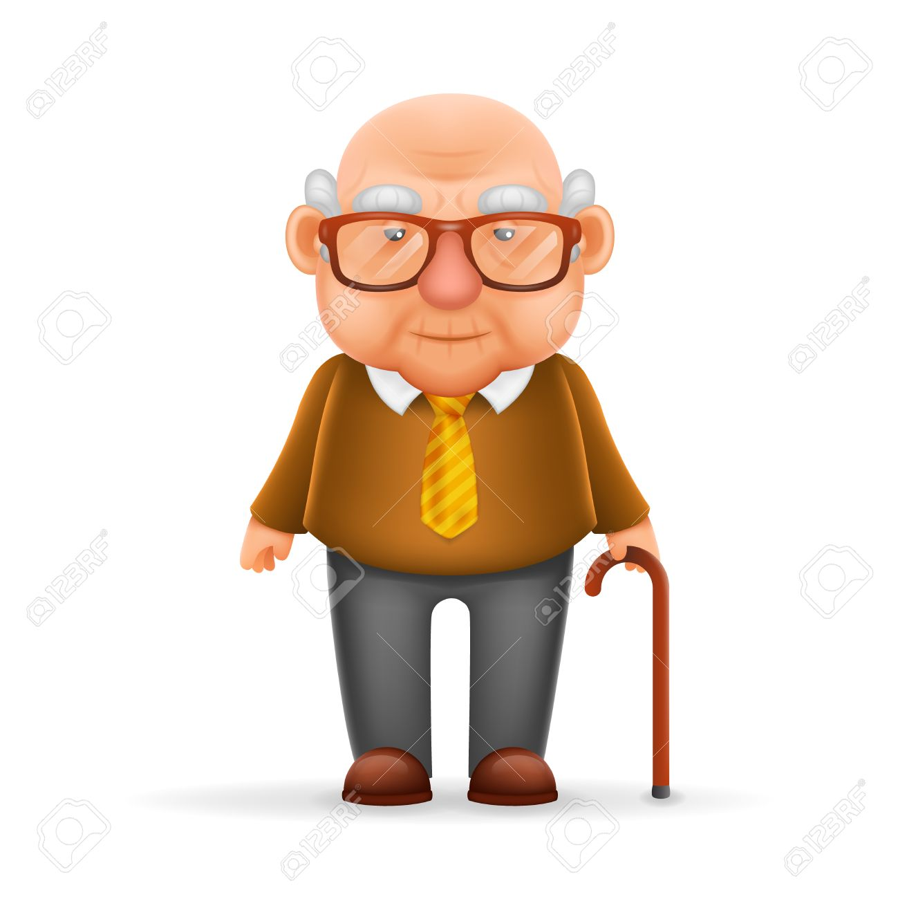 Old Man Grandfather Realistic Cartoon Character Design Isolated Vector Illustrator - 66926500