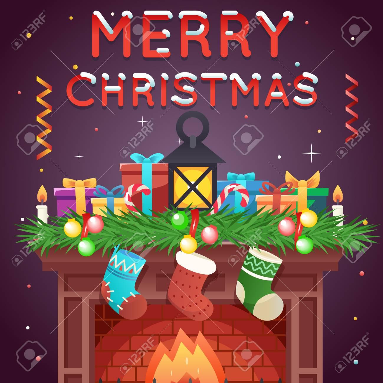 Christmas Celebration Cartoon Images.Fireplace Socks Gifts Candles Template Christmas Celebration