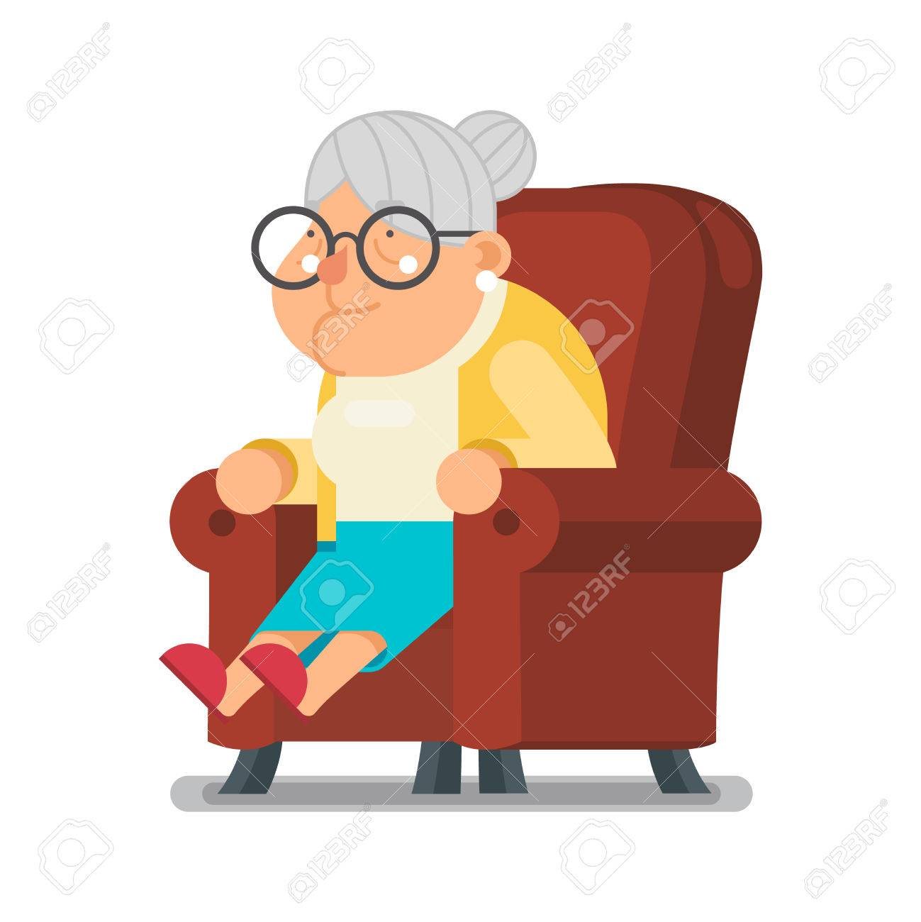 sit rest granny old lady character cartoon flat vector illustration