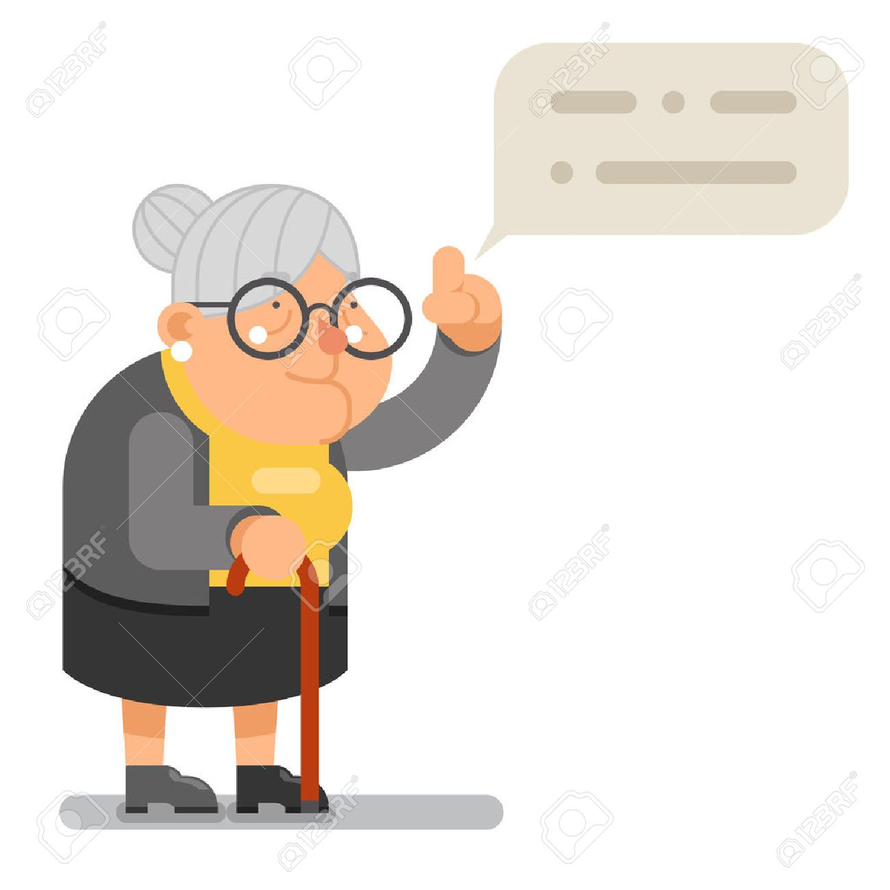 Wise Teacher Guidance Granny Old Lady Character Cartoon Flat Vector illustration - 68581199
