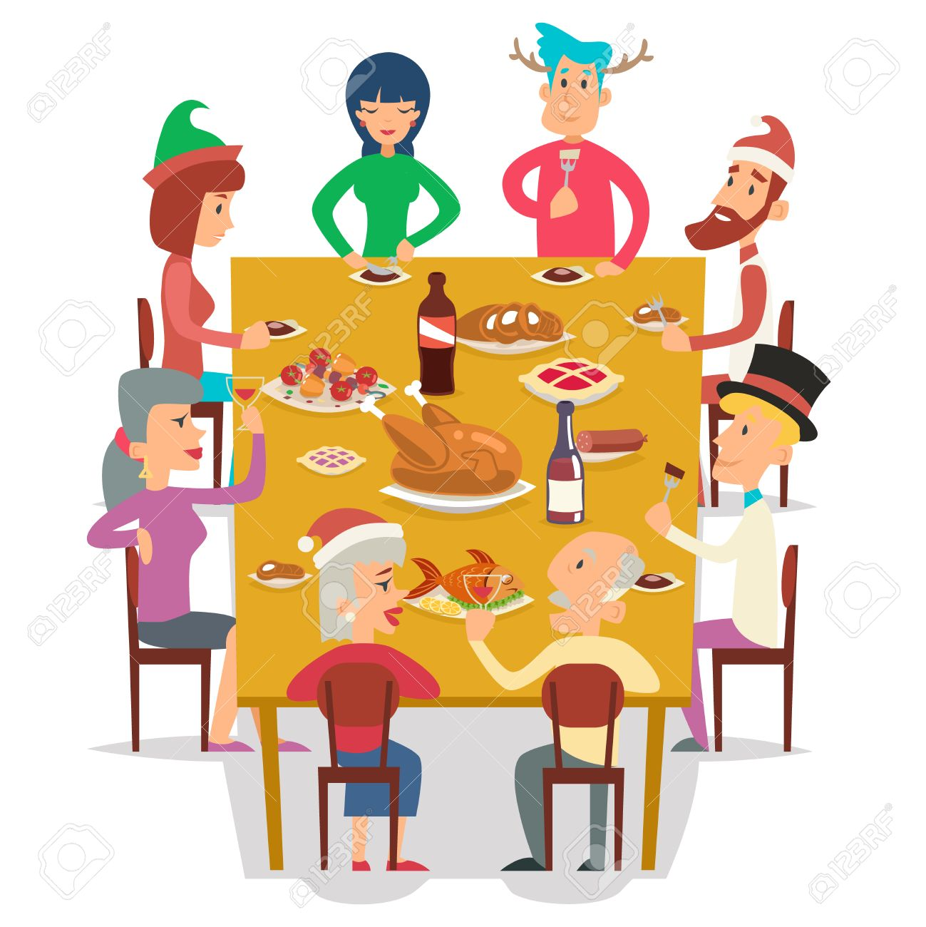 Christmas Group Friends Family Eat Meal Characters Celebration Meating New Year Party Design Vector Illustration Stock