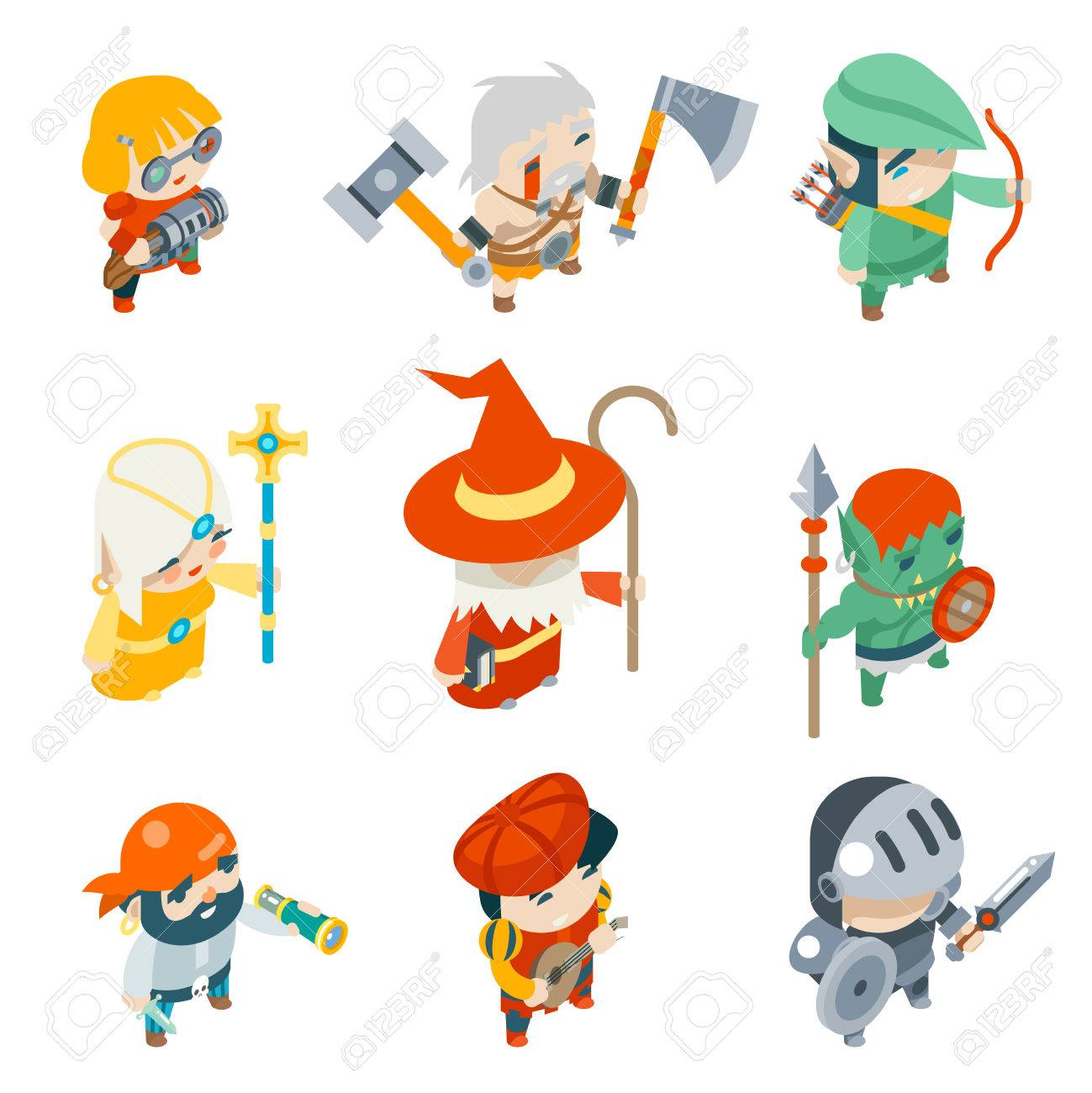 Fantasy RPG Game Characters Isometric Vector Icons Set Vector