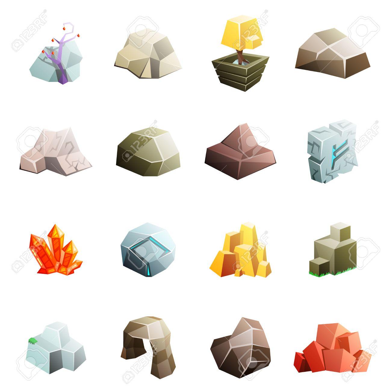 Game art environment low poly rock stone boulder cave cristal