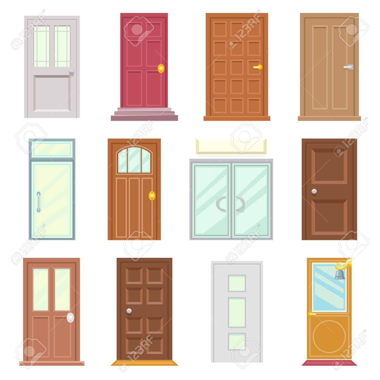 Modern Old Doors Icons Set House Flat Design Isolated Vector ...