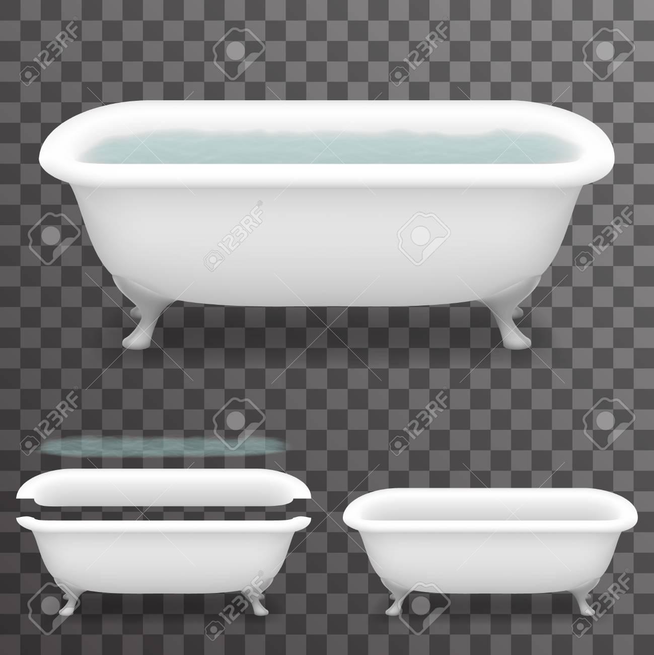 Modelli Vasca Da Bagno.Bagno Retro Con Acqua Realistic 3d Parallax Vasca Da Bagno Sfondo Trasparente Modello Mock Up Design Illustrazione Vettoriale