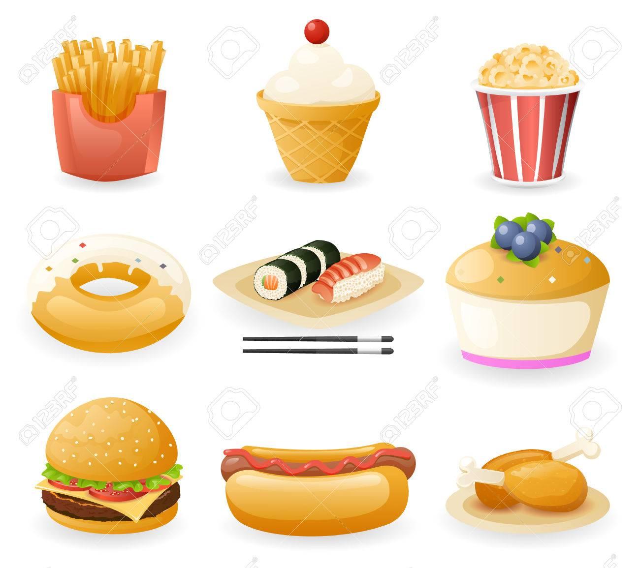 Retro Flat Fast Food Icons And Symbols Set Vector Illustration