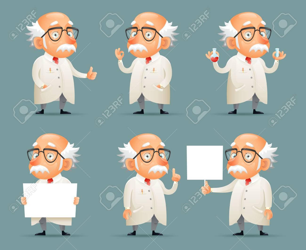 Les anciens icônes de personnage de Scientist Set Retro Cartoon Design Mobile Game Vector Illustration Banque d'images - 74655387