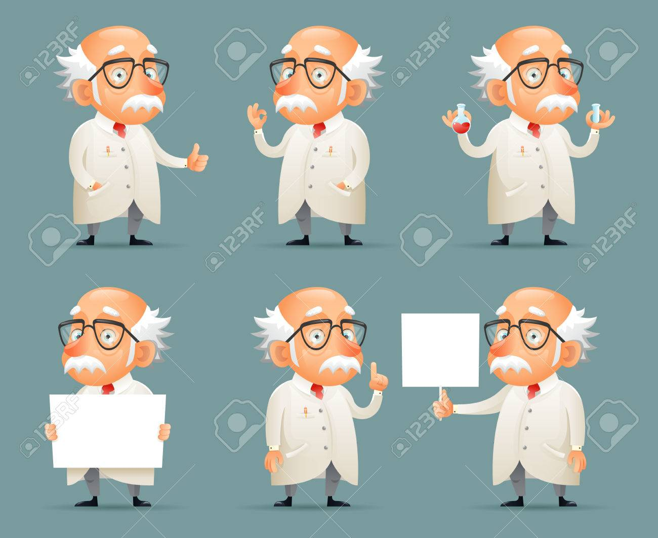 Old Scientist Character Icons Set Retro Cartoon Design Mobile Game Vector Illustration Archivio Fotografico - 74655387