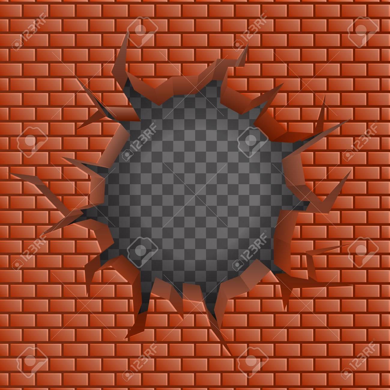 Brick Wall Hollow Crack Hole Transparent Background Vector Illustration