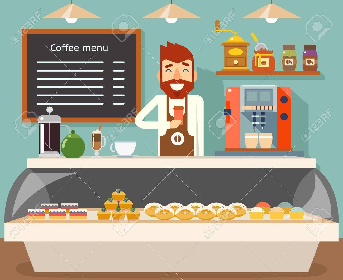 Coffee shop interior seller bakery taste sweets flat design vector illustration Stock Vector - 76699067