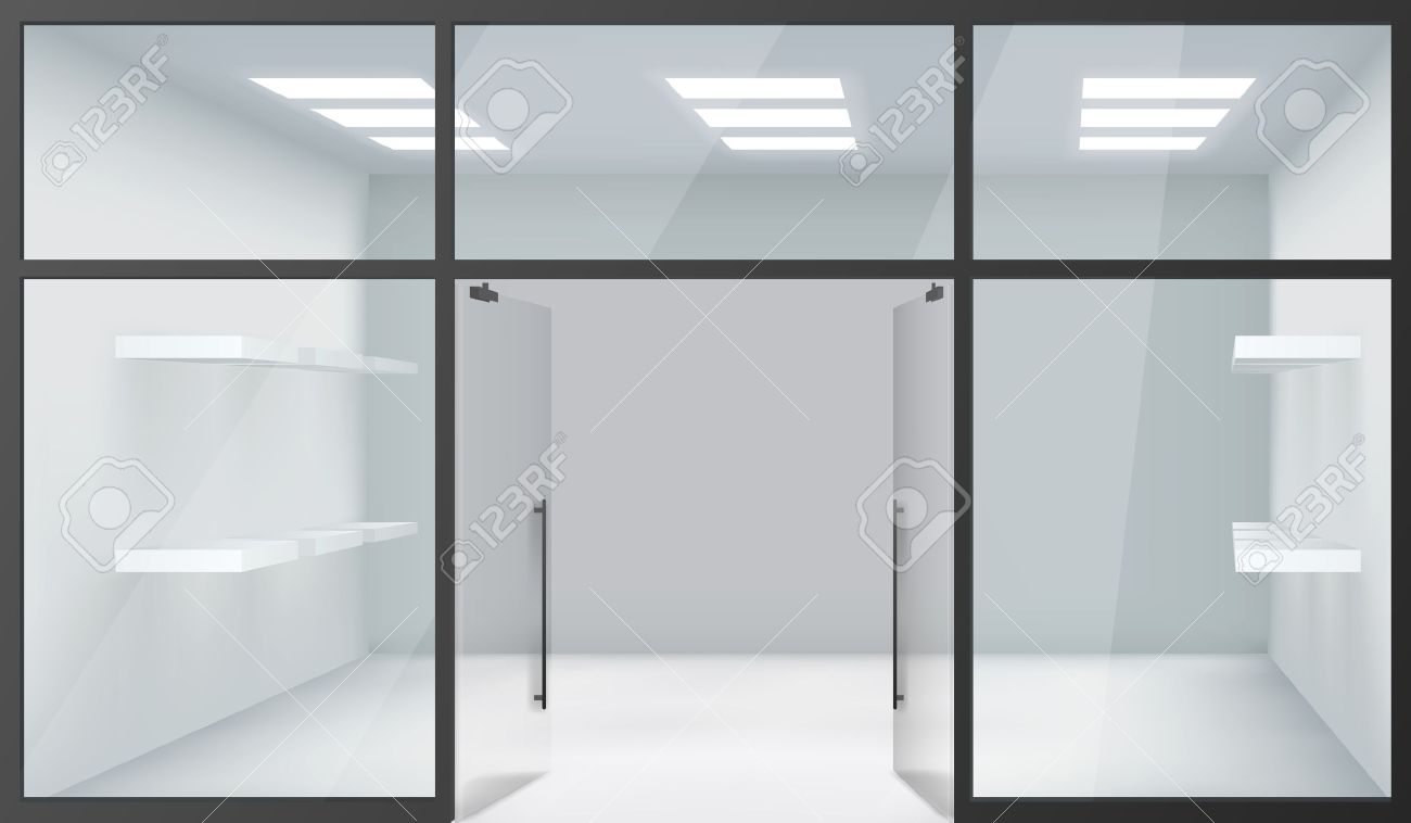 Shop Empty Interior Front Store 3d Realistic Windows Space Open Doors Shelves Template Mockup Background Vector  sc 1 st  123RF.com & Shop Empty Interior Front Store 3d Realistic Windows Space Open ...