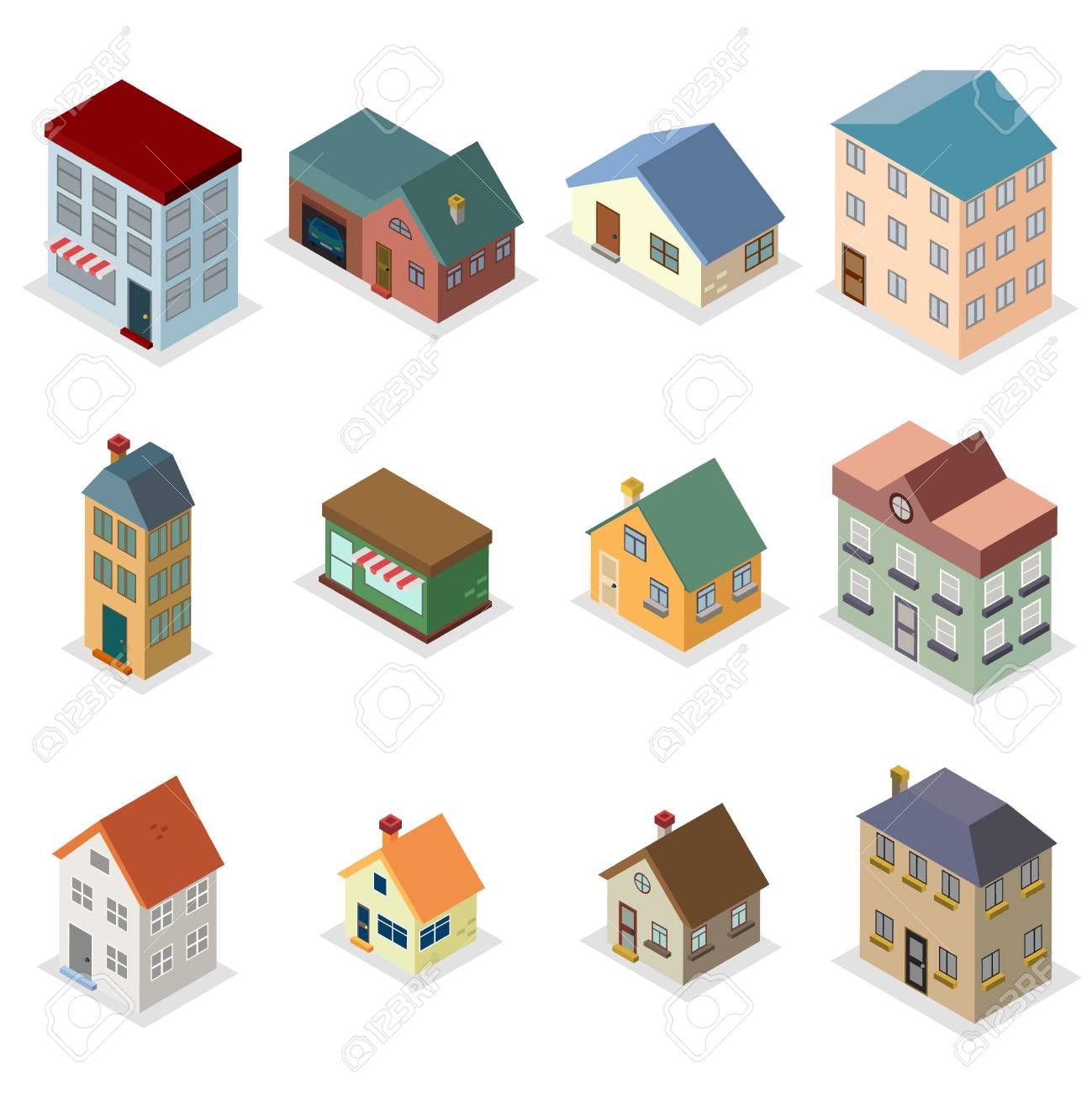 Moderne Trendige Retro Haus Straße Isometrische Design Konzept  Vektor Illustration Standard Bild