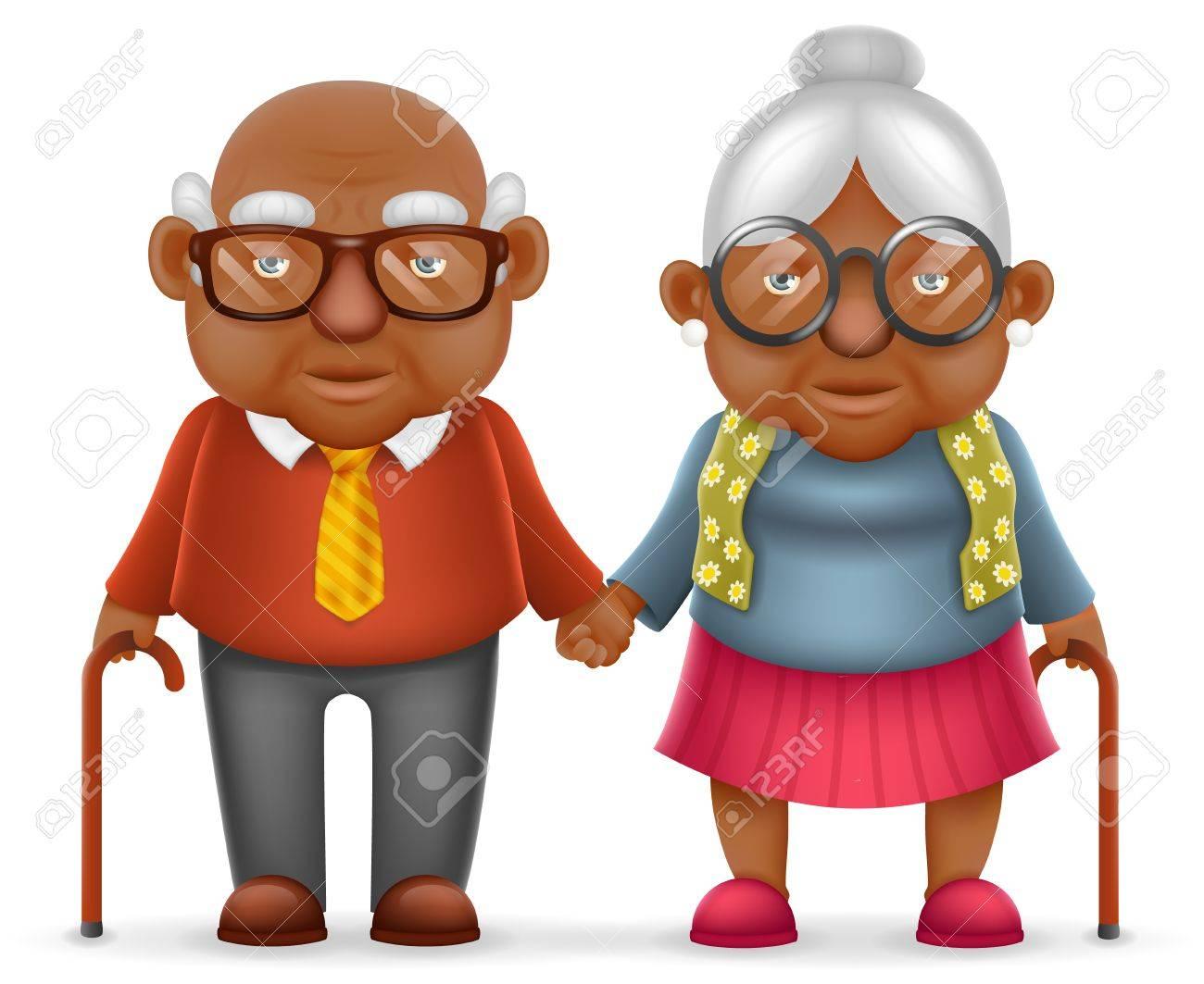 Afro Américain Mignon Sourire Heureux Vieux Couple Vieil Homme Amour Femme Grand Père Grand Mère 3d Réaliste Dessin Animé Famille Caractère Design