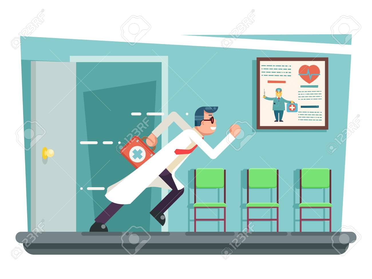 Doctor running out consulting room door hurry medical clinic cartoon character flat design vector illustration Stock  sc 1 st  123RF.com & Doctor Running Out Consulting Room Door Hurry Medical Clinic ...