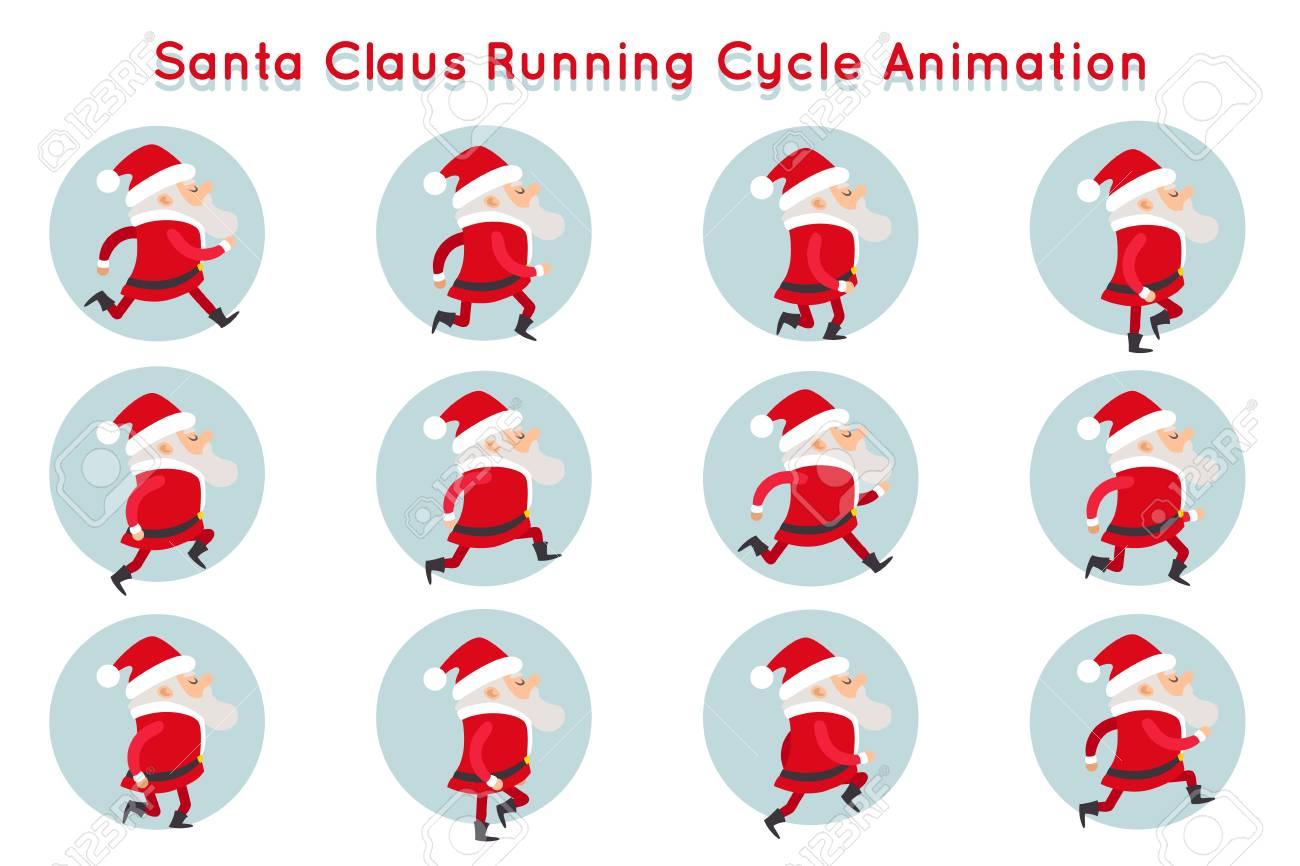 Cute Santa Claus Funny Running Cycle Animation Cartoon Character ...