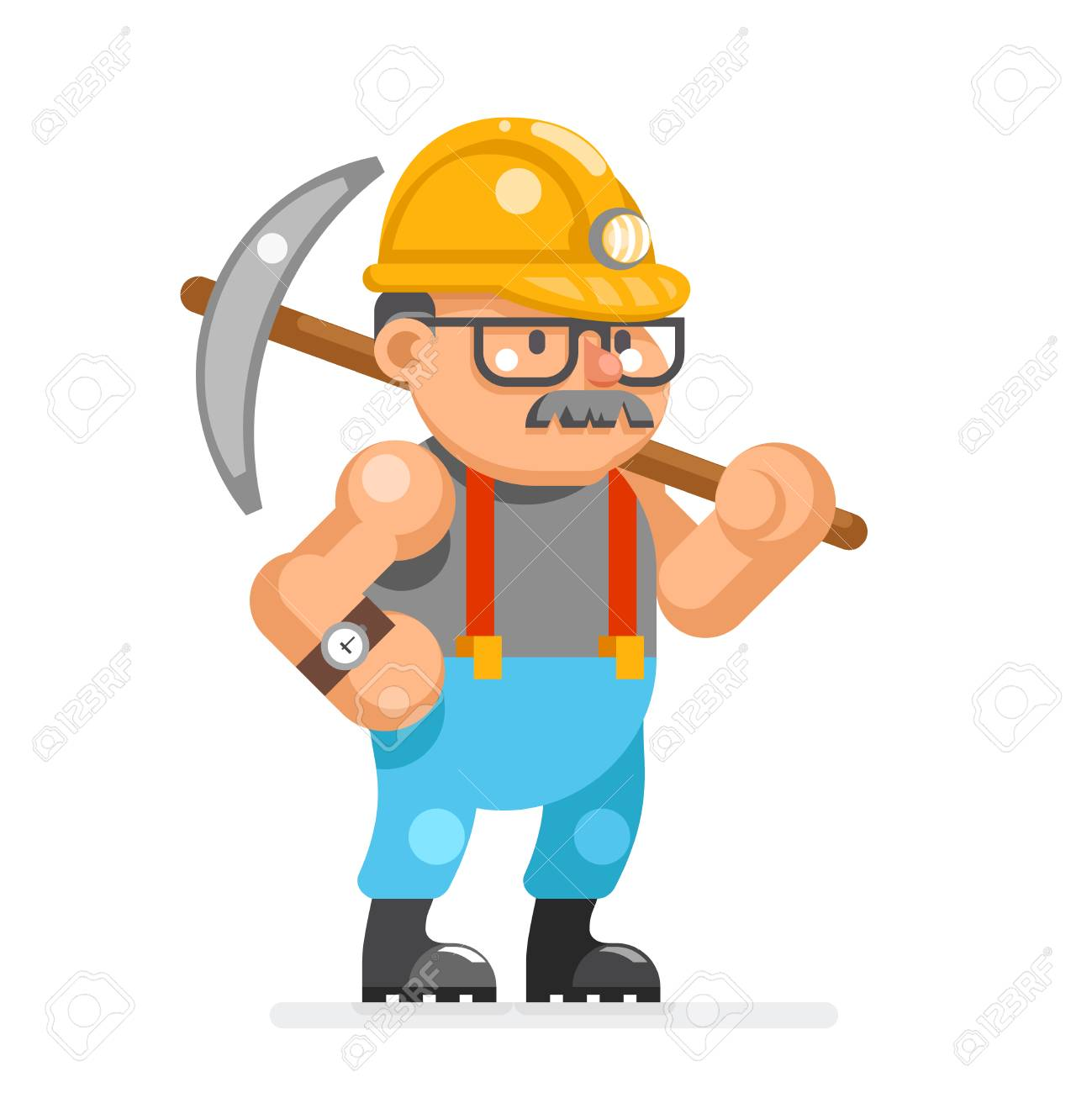 Miner Collier Man Pitman Character Cartoon Mine Worker Isolated
