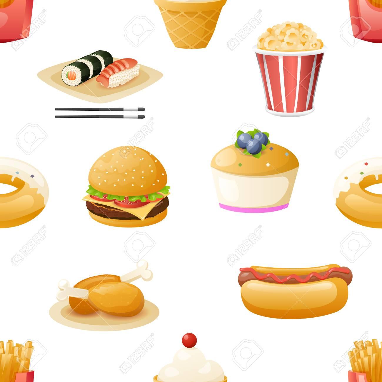 Fast Food Icons Symbols Realistic Cartoon Seamless Pattern Template