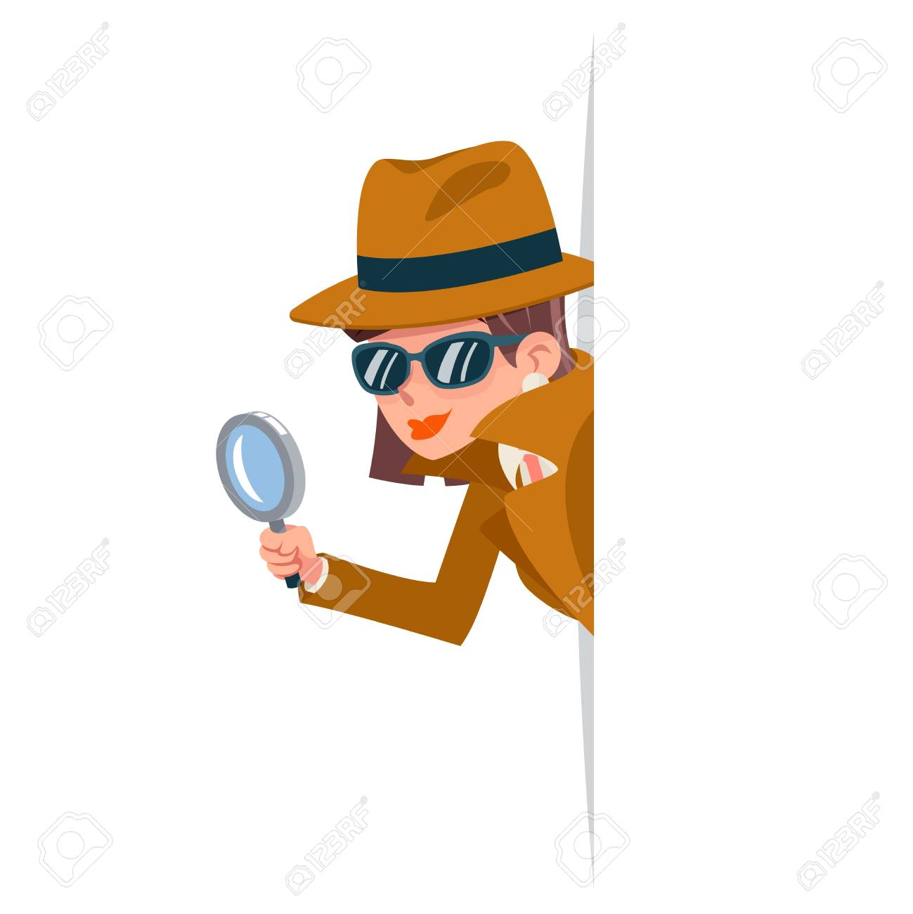 Cute woman snoop detective magnifying glass tec peeking out corner search help noir female cartoon character design isolated vector illustration - 118628838