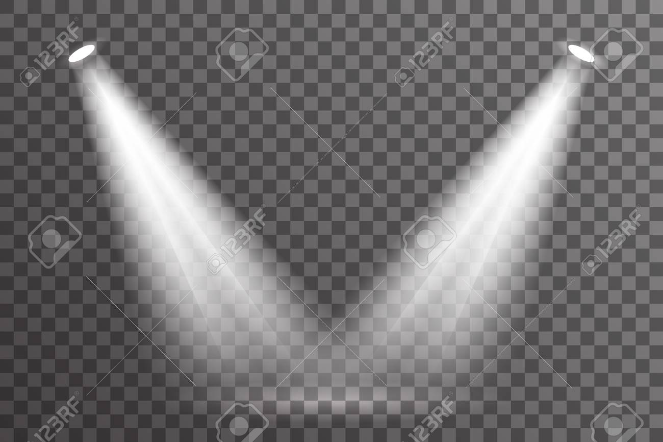 Double ray scene spotlight illumination light bright electric effect glow special abstract flare transparent set background vector illustration - 124607535