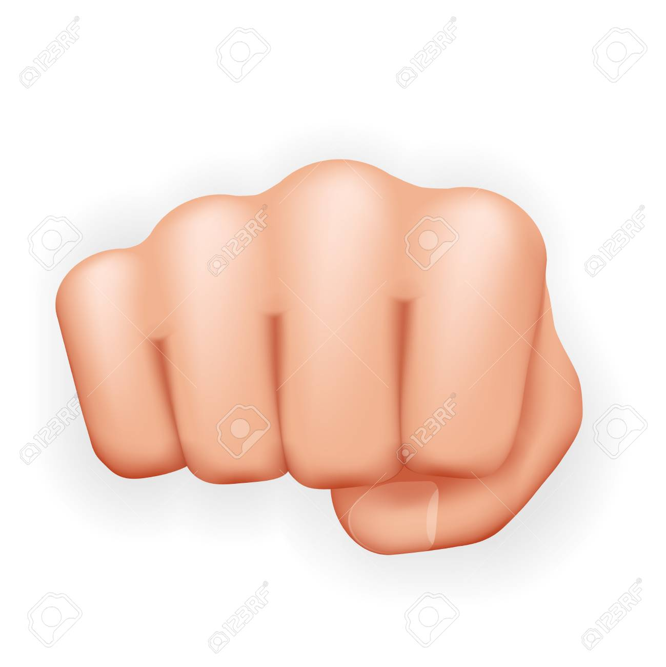 Strong hand punch fist power courage aggression protest fight realistic icon 3d isolated on white background vector illustration - 123124344