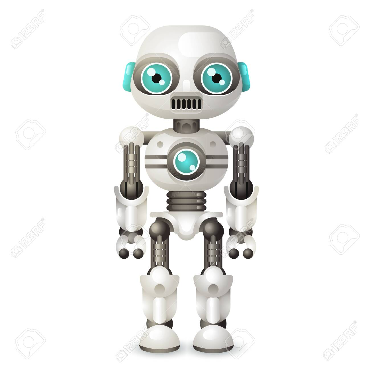 Modern Android Robot Character Artificial Intelligence Isolated On ...
