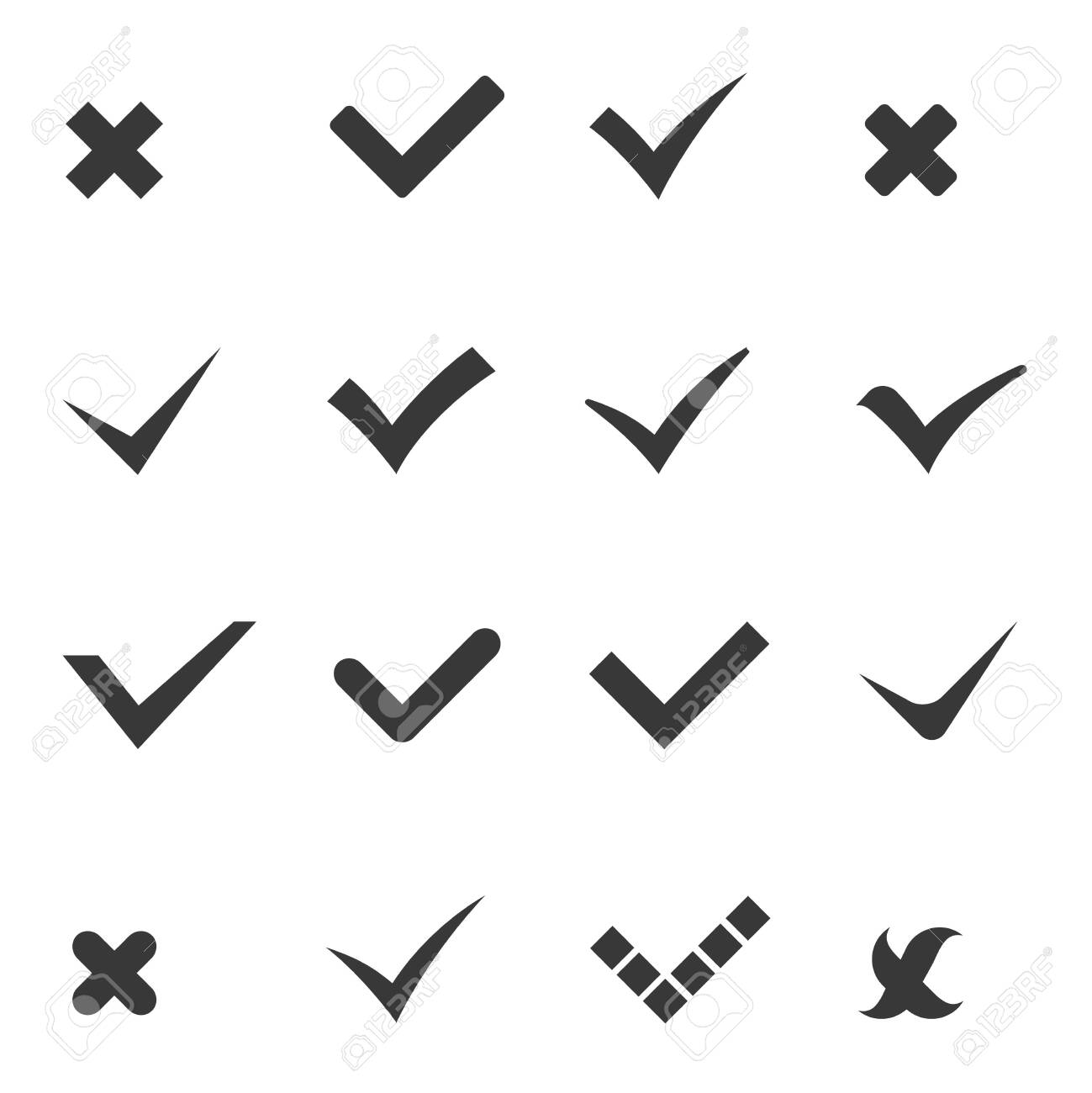 Check marks tick cross icons set vector illustration - 152402054
