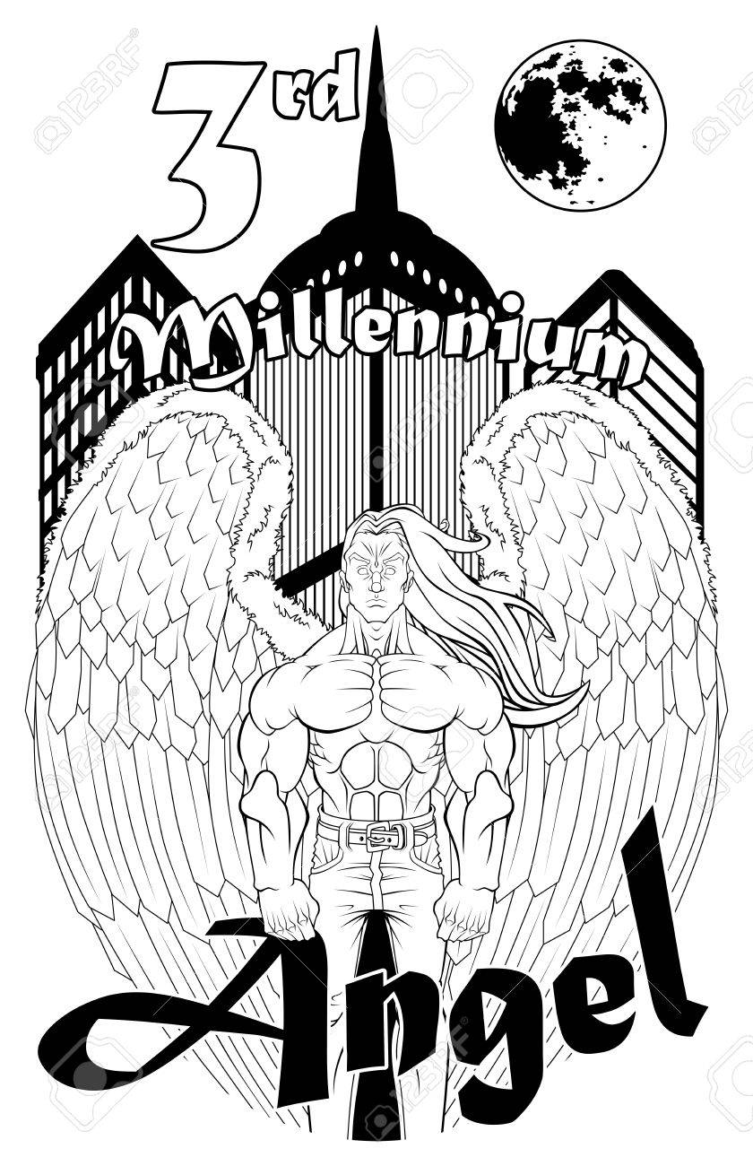 T shirt black and white designs - Black And White Illustration For T Shirt Design The Angel Wears A Pair Of