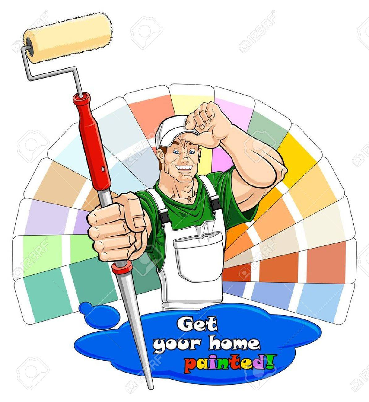 Illustration of a smiling house painter with paint roller. Below him there is a paint stain with text: you can clear it and write your one. Color guide on the background. Stock Vector - 19181563