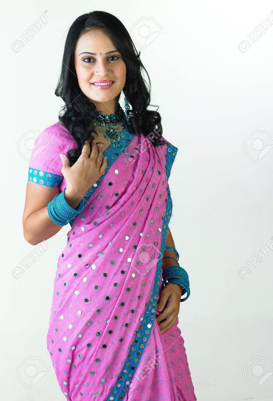 Indian girl standing with free hairstyle Stock Photo - 4644545