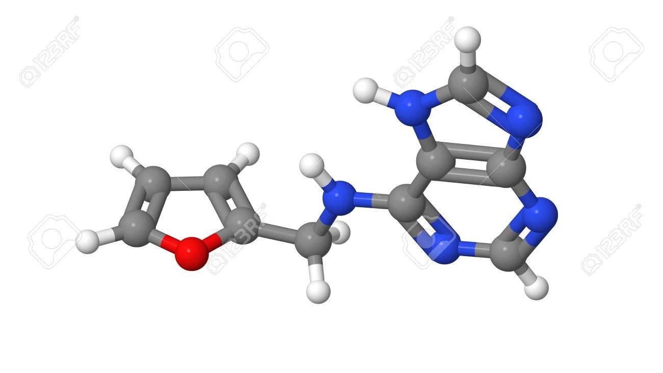 Plant hormone - Cytokinins - Kinetin - molecular model Stock Photo - 17613514