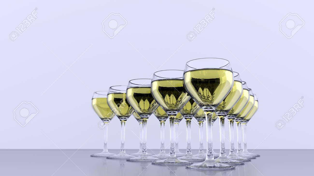 Triangle of wineglasses - white wine - front view  3D rendered Stock Photo - 20779952