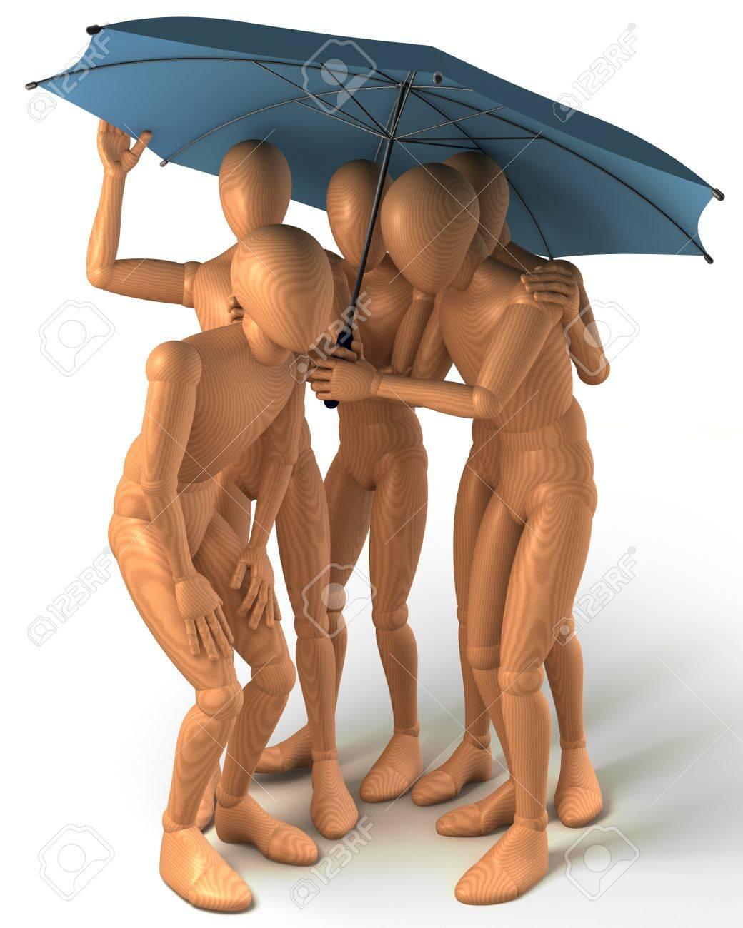 Four figures standing under umbrella Stock Photo - 20867679