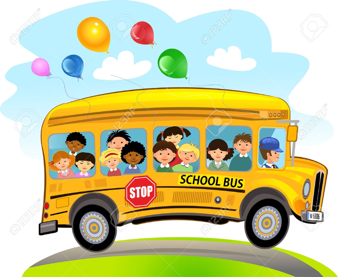 cartoon school kids riding a school bus royalty free cliparts rh 123rf com clipart business gratuit clipart bushes