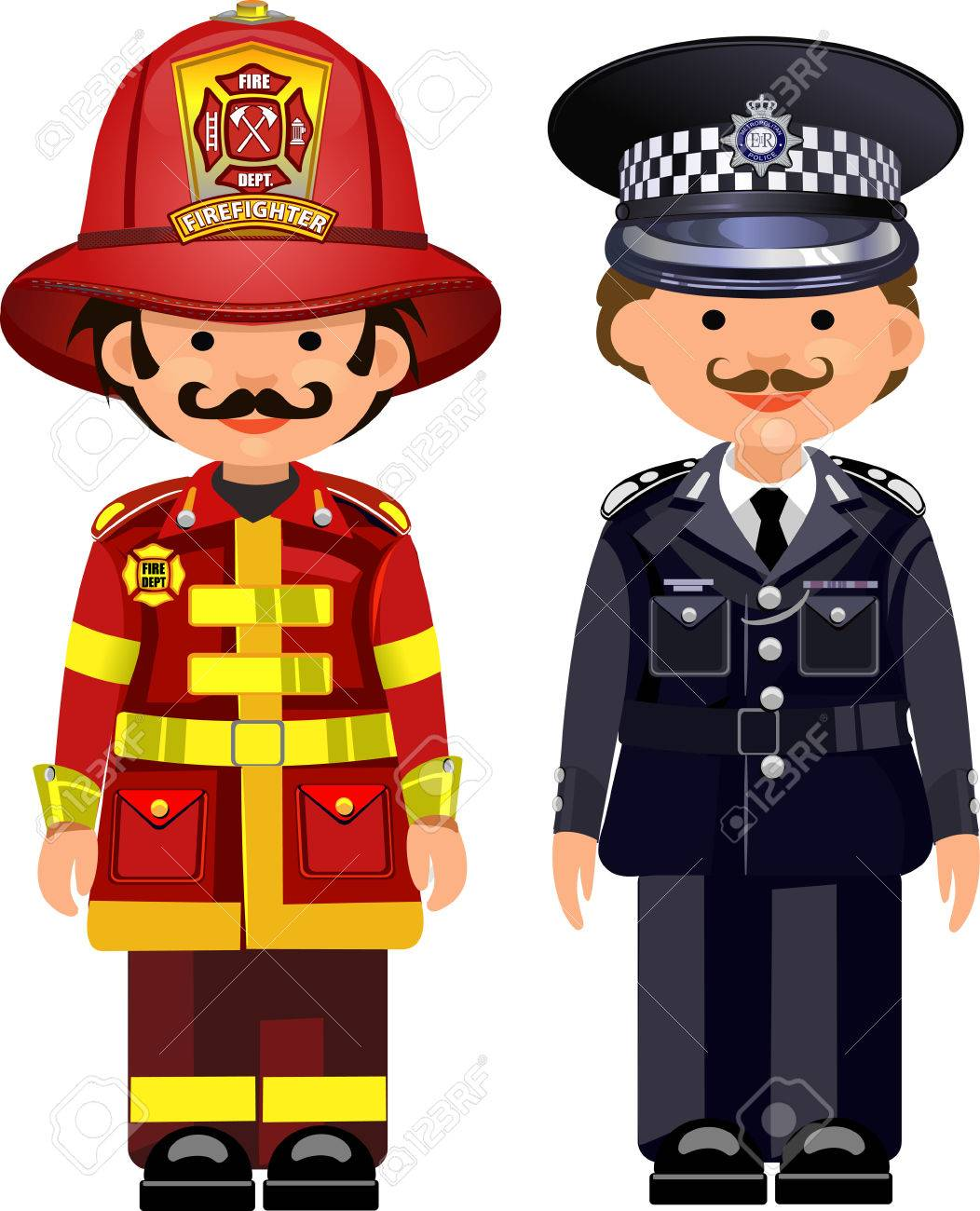 El Oficial De Policía Y De Bomberos Ilustraciones Vectoriales, Clip ...