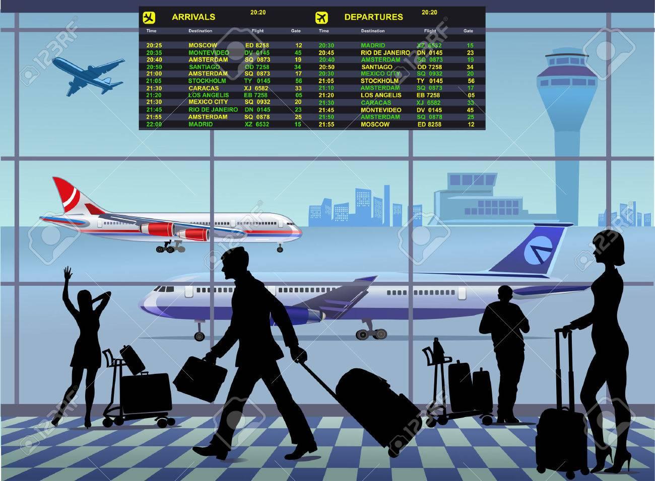 空港旅客ターミナル。国際線到着と出発のイラスト素材・ベクタ - Image ...