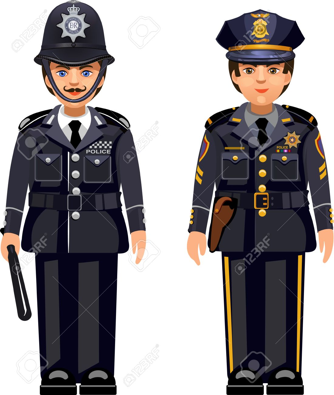 british metropolitan police officers and usa nypd police officer